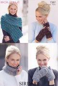 Sirdar Ladies Accessories Bouffle Knitting Pattern 7387  Chunky