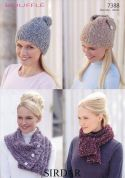 Sirdar Ladies Hats & Scarves Bouffle Knitting Pattern 7388  Chunky