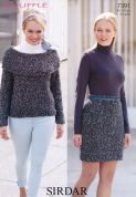 Sirdar Ladies Skirt & Sweater Bouffle Knitting Pattern 7391  Chunky