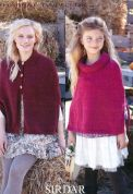 Sirdar Ladies & Girls Capes Harrap Tweed Knitting Pattern 7395  DK