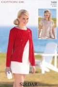 Sirdar Ladies Cardigans Cotton Knitting Pattern 7499  DK