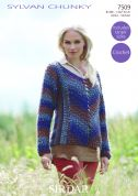 Sirdar Ladies Sweater Sylvan Crochet Pattern 7509  Chunky
