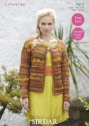 Sirdar Ladies Cardigan Divine Knitting Pattern 7512  DK
