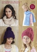 Hayfield Ladies & Girls Hats, Snood & Scarf Bonus Knitting Pattern 7725  Super Chunky