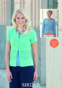Sirdar Ladies Cardigans Cotton Knitting Pattern 7736  DK
