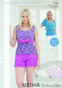 Sirdar Ladies Tops Cotton Knitting Pattern 7769  DK