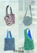 Sirdar Ladies Bags Cotton Knitting Pattern 7770  DK