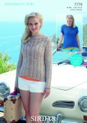 Sirdar Ladies Tops Amalfi Knitting Pattern 7779  DK