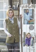 Hayfield Ladies Waistcoats & Scarf Knitting Pattern 7797  Aran