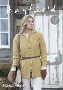 Hayfield Ladies Coat Knitting Pattern 7798  Aran