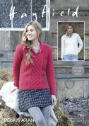 Hayfield Ladies Sweaters Knitting Pattern 7801  Aran