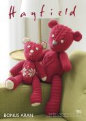 Hayfield Patchwork Teddy Bears Cuddly Toys Knitting Pattern 7802  Aran