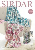 Sirdar Home Throws Blankets Cotton Crochet Pattern 7821  4 Ply