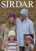 Sirdar Family Hats Country Style Knitting Pattern 7827  DK