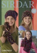 Sirdar Ladies Hats, Wrist Warmers & Scarf Caboodle Knitting Pattern 7841  Chunky