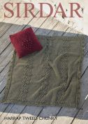 Sirdar Home Cushion Cover & Throw Blanket Harrap Tweed Knitting Pattern 7846  Chunky