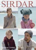 Sirdar Family Hats, Snood & Scarf Harrap Tweed Knitting Pattern 7852  Chunky