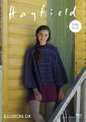 Hayfield Ladies Poncho Illusion Knitting Pattern 7855  DK