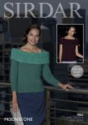 Sirdar Ladies Tops Moonstone Knitting Pattern 7862  Aran