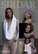 Sirdar Ladies & Girls Hat, Scarf & Snoods Smudge Knitting Pattern 7868  Chunky