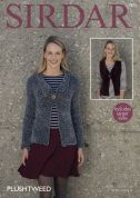 Sirdar Ladies Jacket & Waistcoat Plushtweed Knitting Pattern 7873  Chunky