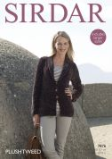 Sirdar Ladies Jacket Plushtweed Knitting Pattern 7876  Chunky