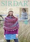 Sirdar Ladies & Girls Ponchos Aura Crochet Pattern 7878  Chunky