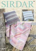 Sirdar Home Cushion Covers & Throw Blanket Aura Knitting Pattern 7882  Chunky