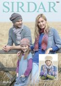 Sirdar Family Scarf, Hats & Mittens Aura Knitting Pattern 7883  Chunky