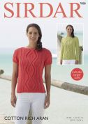 Sirdar Ladies Sweater Tops Cotton Rich Knitting Pattern 7888  Aran