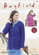 Hayfield Ladies Cardigan & Waistcoat Knitting Pattern 7900  Aran