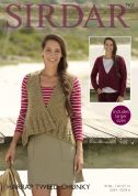 Sirdar Ladies Cardigan & Waistcoat Harrap Tweed Knitting Pattern 7903  Chunky
