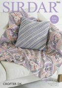Sirdar Home Cushion Cover & Leaf Throw Blanket Crofter Knitting Pattern 7905  DK