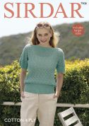 Sirdar Ladies Top Cotton Knitting Pattern 7908  4 Ply