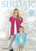 Sirdar Ladies & Girls Cardigans Touch Knitting Pattern 7920
