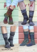 Hayfield Mens & Ladies Socks Illusion Knitting Pattern 7935  DK