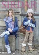Sirdar Ladies & Girls Hat, Scarf, Wrist Warmers & Husky Boots Wild Knitting Pattern 7971