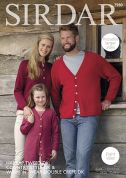 Sirdar Family Cardigans Harrap Tweed, Country Style & Wash n Wear Knitting Pattern 7980  DK