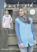 Hayfield Ladies Waistcoat & Jacket Bonus Knitting Pattern 7990  Aran