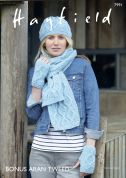 Hayfield Ladies Hat, Scarf & Wrist Warmers Bonus Knitting Pattern 7991  Aran