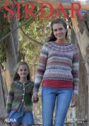Sirdar Ladies & Girls Cardigan & Sweater Aura Knitting Pattern 8005  Chunky