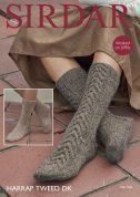 Sirdar Ladies Socks Harrap Tweed Knitting Pattern 8010  DK
