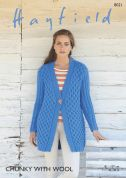 Hayfield Ladies Jacket With Wool Knitting Pattern 8021  Chunky