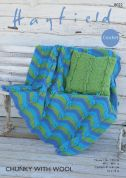 Hayfield Home Throw & Cushion Cover With Wool Crochet Pattern 8022  Chunky