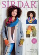Sirdar Ladies Snood, Wrap & Mittens Colourwheel Knitting Pattern 8031  DK