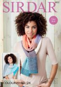 Sirdar Ladies Wrap & Scarf Colourwheel Knitting Pattern 8032  DK