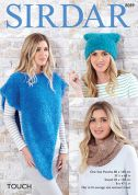 Sirdar Ladies Poncho, Snood & Hat Touch Knitting Pattern 8089