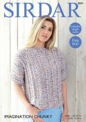 Sirdar Ladies Top Imagination Knitting Pattern 8091  Chunky