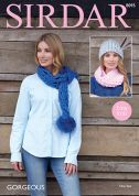 Sirdar Ladies Scarves & Hat Gorgeous Knitting Pattern 8095  Super Chunky
