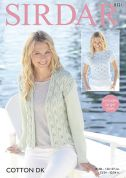 Sirdar Ladies Top & Jacket Cotton Knitting Pattern 8121  DK